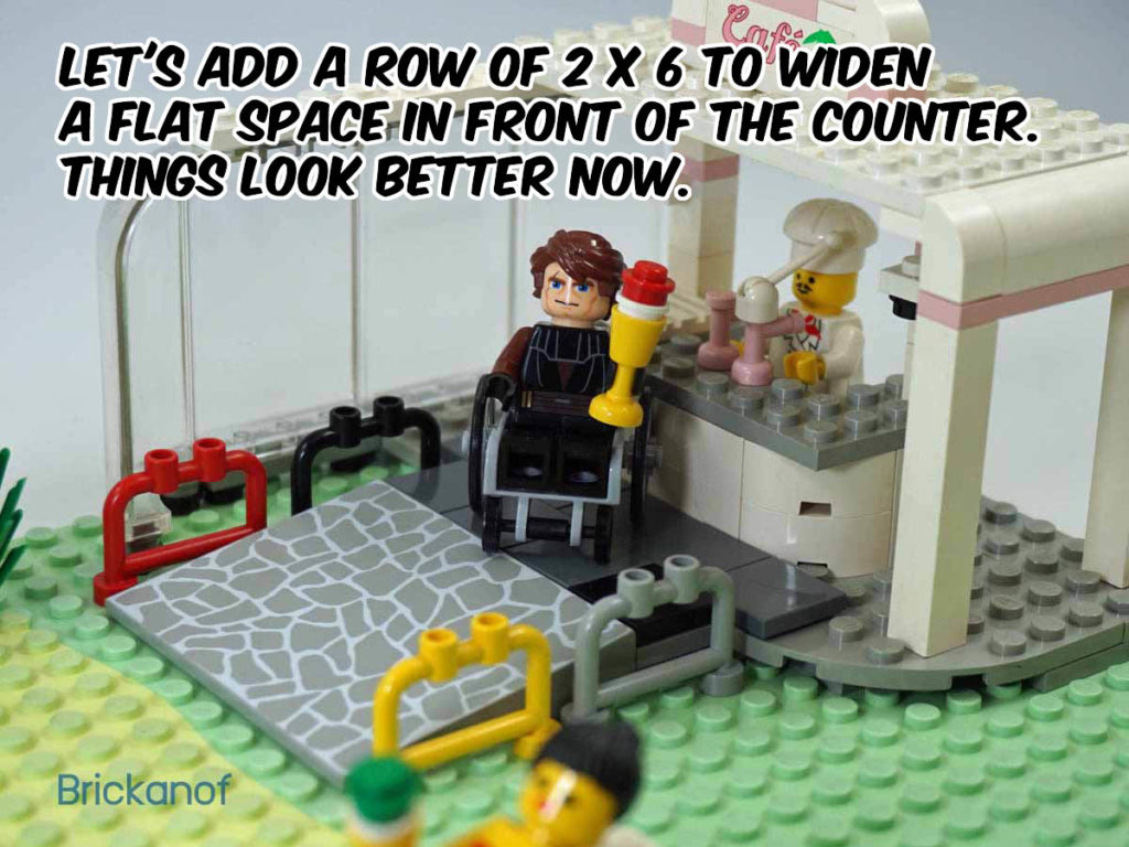Let's add a row of 2 x 6 to widen a flat space in front of the counter. He seems happy now.