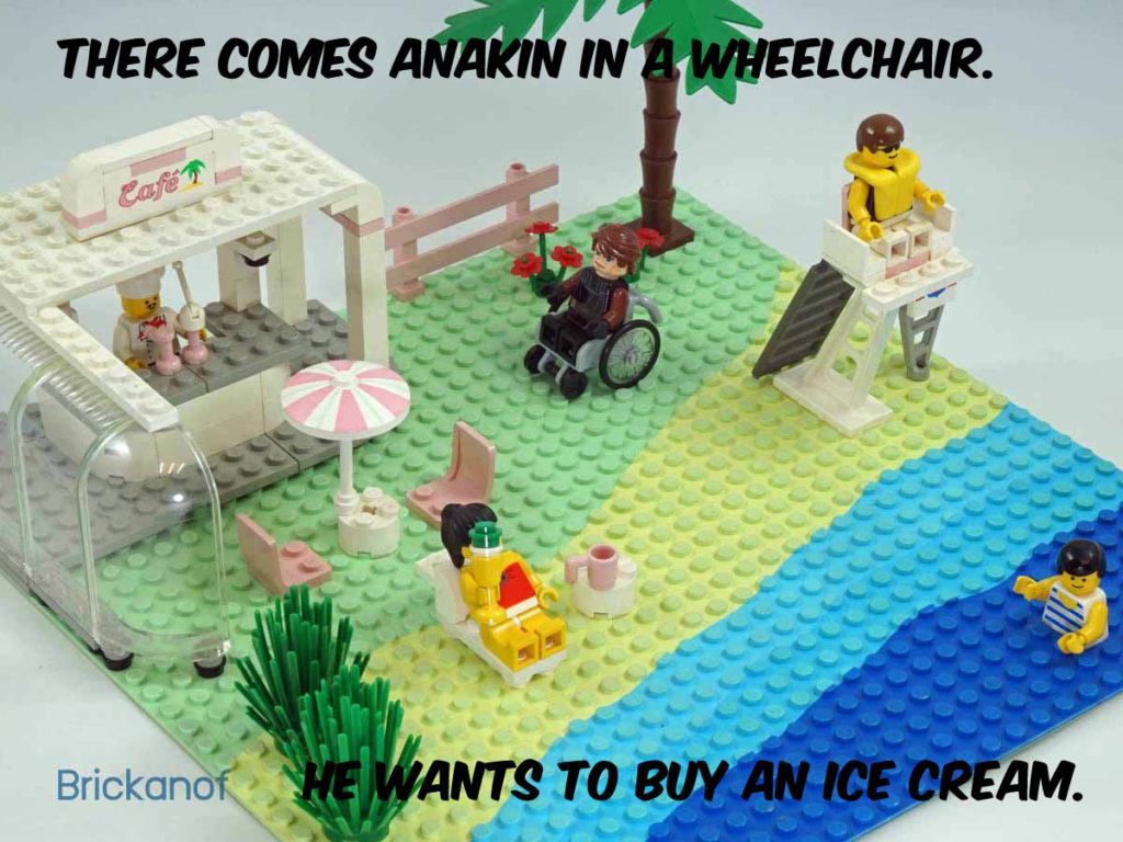 Here comes Anakin in a wheelchair. He wants to buy an ice cream.