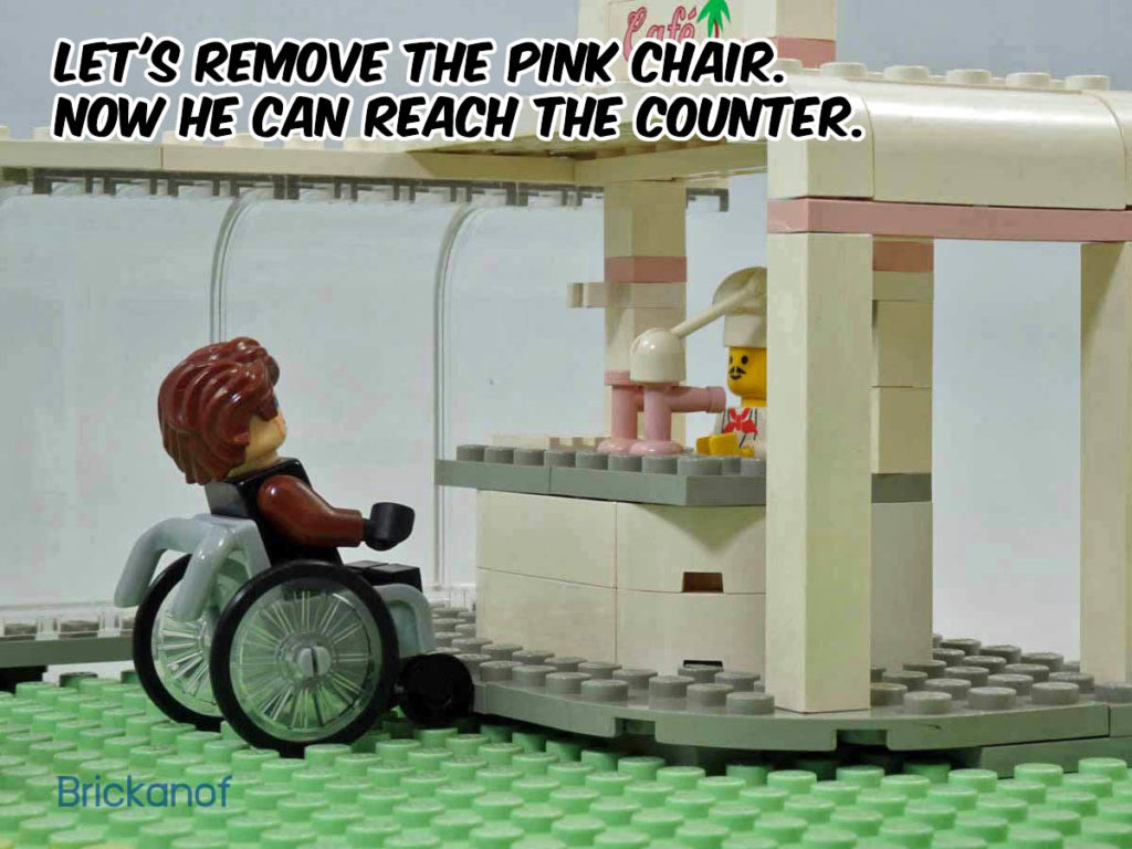 Let's remove the pink chair. Now he can reach the counter.