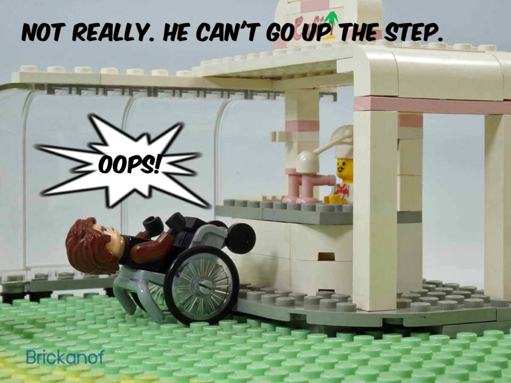 Not really. He can't go up the step. Oops!