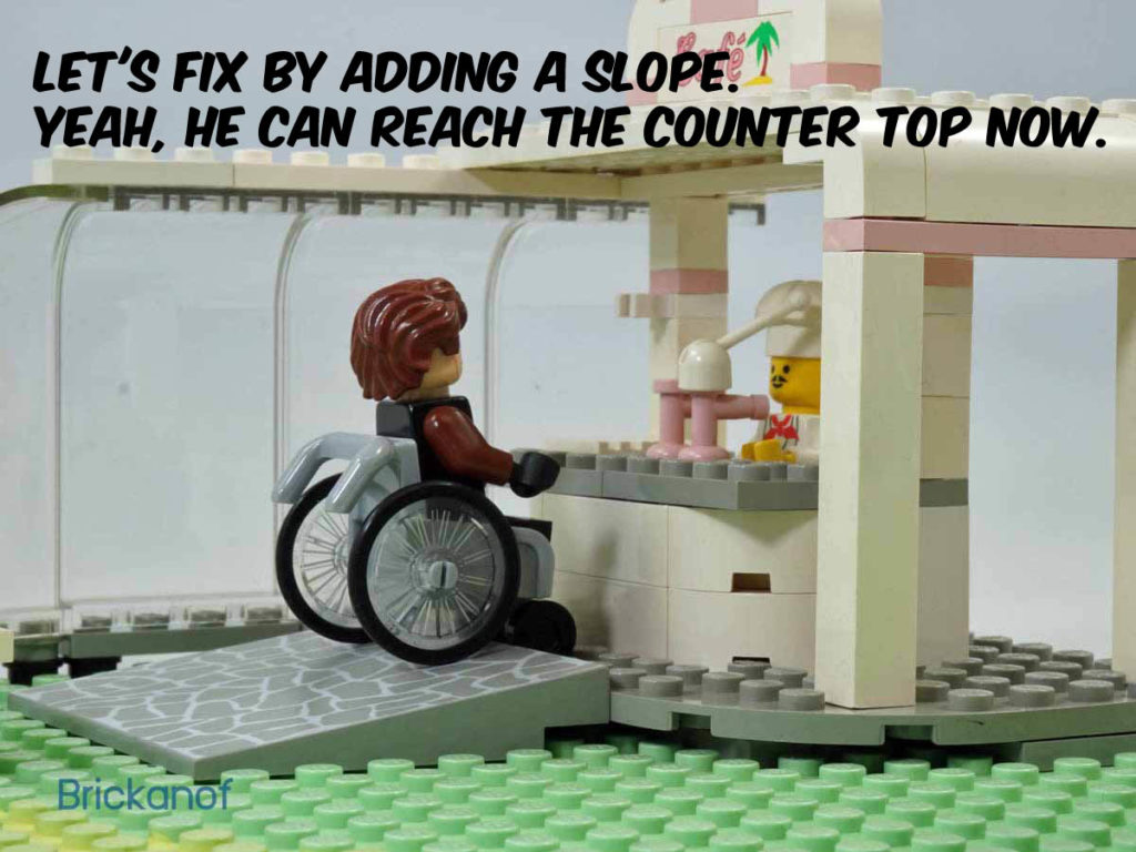 Let's fix by adding a slope. Yeah, he can reach the counter top now.